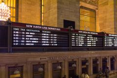 Grand Central Terminal. NEW YORK, USA - OCT 8, 2015: Schedule table at the Grand Central Terminal (GCT) is a commuter railroad terminal. It's located at  42nd Royalty Free Stock Photos
