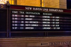 Grand Central Terminal. NEW YORK, USA - OCT 8, 2015: Schedule table at the Grand Central Terminal (GCT) is a commuter railroad terminal. It's located at  42nd Stock Photography