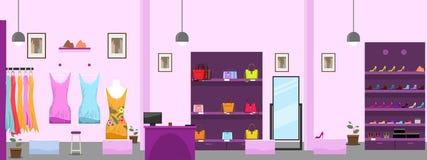 Grand centre commercial de vêtements ou intérieur femelle de magasin de boutique Illustration de vecteur illustration libre de droits