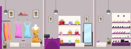 Grand centre commercial de vêtements ou intérieur femelle de magasin de boutique Illustration de vecteur illustration de vecteur