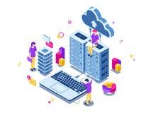 Grand centre de traitement des données, support de pièce de serveur, machinant le processus, travail d'équipe, informatique, stoc illustration de vecteur