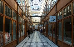 The Grand Cerf passage is one of the largest covered arcades in Paris. Royalty Free Stock Image