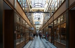 The Grand Cerf passage is one of the largest covered arcades in Paris. Stock Photos