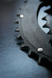 Grand chainring utilisé du vélo Photographie stock