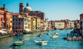 Grand channel with boats in Venice, Italy Royalty Free Stock Images