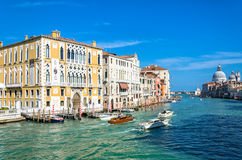 Grand channel surrounded by houses and Basilica, Venice Royalty Free Stock Photography