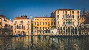 Grand channel in Venice in early morning. Vintage effect Royalty Free Stock Image