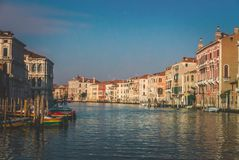 Grand channel in Venice in early morning. Vintage style photograph Stock Image