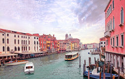 Grand channel in Venice with sailing boats Stock Photos