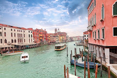 Grand channel in Venice with sailing motor boats Stock Images