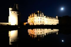 Grand Chateau de Chenonceau at night, Loire, France Royalty Free Stock Photo