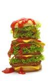 Grand cheeseburger avec le ketchup Images libres de droits