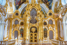 Grand Church of the Winter Palace, Hermitage Museum, St. Petersb. ST. PETERSBURG, RUSSIA - AUGUST 27: The Grand Church of the Winter Palace, interior of the Stock Images
