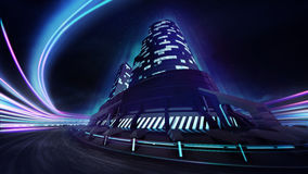Grand city race track with colorful light flare Royalty Free Stock Images