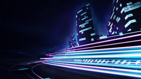 Grand city racetrack with colorful speed flare Stock Images
