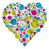 Grand coeur avec beaucoup de coeurs de griffonnage Images libres de droits