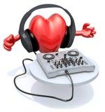 Grand coeur avec le casque du DJ devant le consolle Photo stock