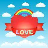 Grand coeur d'amour dans le ciel Photo stock