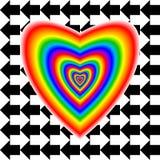Grand coeur dans des couleurs et des flèches d'arc-en-ciel Photo libre de droits