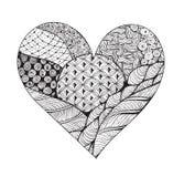 Grand coeur noir et blanc de zentangle Image libre de droits