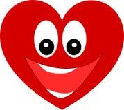 Grand coeur rouge avec un sourire Photographie stock