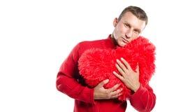 Grand coeur rouge de witn sexy d'homme Jour du `s de Valentine Du coeur Photographie stock libre de droits