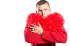 Grand coeur rouge de witn sexy d'homme Jour du `s de Valentine Du coeur Images stock