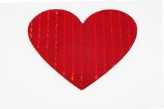 Grand coeur rouge métallique brillant Photo stock
