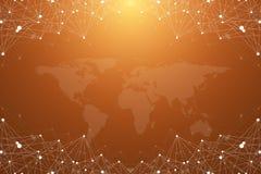 Grand complexe de données Communication abstraite graphique de fond Contexte de perspective avec la carte du monde Rangée minimal Photographie stock