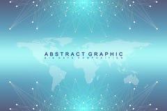 Grand complexe de données Communication abstraite graphique de fond Contexte de perspective avec la carte du monde Rangée minimal Image stock