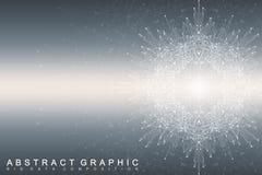 Grand complexe de données Communication abstraite graphique de fond Contexte de perspective de profondeur Rangée minimale avec de Photos stock