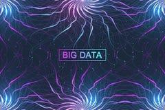 Grand complexe de données Communication abstraite graphique de fond Visualisation de contexte de perspective Réseau analytique Images stock