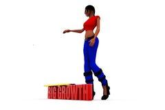 grand concept de croissance de la femme 3d Images stock