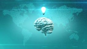 Grand concept de données - cerveau devant l'illustration de la terre avec l'ampoule Images libres de droits