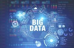Grand concept de données, fond bleu rougeoyant image stock
