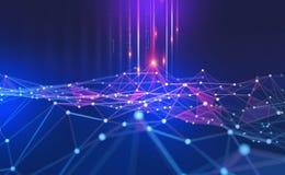 Grand concept de données Fond technologique abstrait de Blockchain Réseaux neurologiques et intelligence artificielle