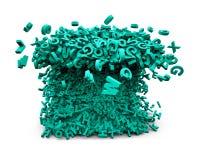 Grand concept de données Les caractères verts énormes ont formé des vagues illustration 3D