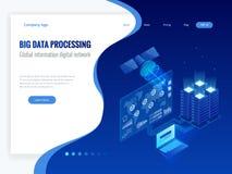 Grand concept informatique et global isométrique de réseau numérique de l'information, datacenter, base de données, les informati illustration stock