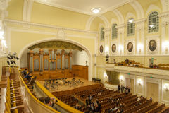 Grand Concert Hall interior at Moscow Conservatory Royalty Free Stock Image