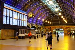 Grand Concourse, Central Railway Station, Sydney, Australia. Early morning under the arched roof in the historic Grand Concourse at Central Railway Station royalty free stock photo