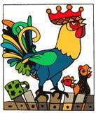 Grand coq, animaux drôles de bande dessinée de page de livre de coloriage image stock