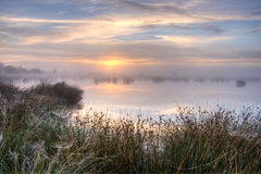 Grand coucher du soleil brumeux au-dessus de marais Photographie stock libre de droits