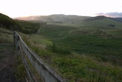 Grand coucher du soleil de route d'océan image stock