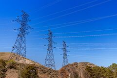 Free Grand Coulee Dam Washington USA - Electric Power Lines Leaving The Dam Stock Photos - 216968863