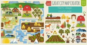 Grand créateur de carte de ville Carte sans couture de modèle Village, ferme, coun