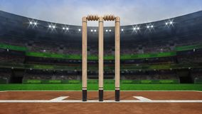 Grand cricket stadium with wooden wickets closeup in daylight royalty free stock images