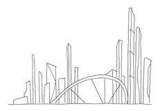 Grand croquis de gratte-ciel de ville de pont Illustration au trait tiré par la main actions de vecteur Futur paysage d'architect illustration de vecteur