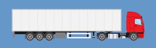 Grand de message publicitaire camion semi avec la remorque Camion de remorque dans le style plat d'isolement illustration libre de droits