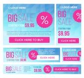 Grand, demi prix et bannières de vente jour Vecteur Image libre de droits