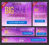 Grand, demi prix et bannières de vente jour Vecteur Photos stock